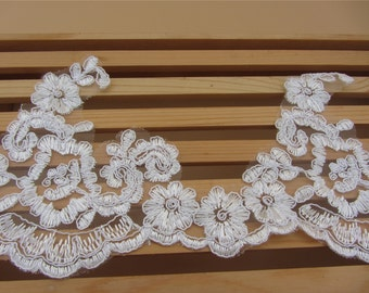 Wedding Lace Trim 5 Inches Wide DIY lace trim Costume Supplies,Ivory Alencon Lace Trim Retro Embroidered