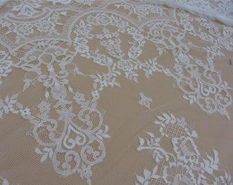 Chantilly Lace Fabric ,3yards eyelash lace fabric Bilateral Eyelash Lace, French Style Wedding Dress  lace-lsm3lt020