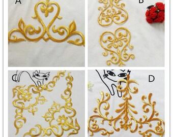 Gold applique  ,embroidery patch,lace applique,Baroque applique  --1pair(2pcs)