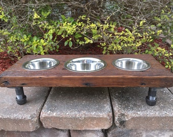 Small Animal Reclaimed Wood & Iron 3 Bowl Pet Feeder