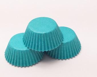 48 Teal Blue Aqua Green Mini Size Cupcake Liners Baking Cups Greaseproof
