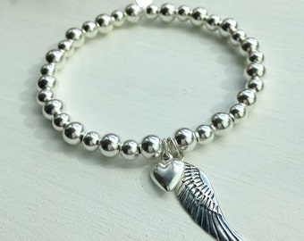 Sterling Silver Angel Wing & Heart Bracelet