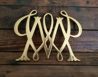 Vintage 1950's Brass William and Mary Trivet