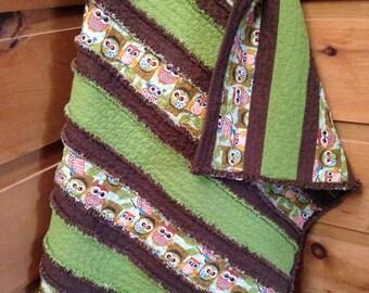 Baby Rag Quilt, Rag Quilt, Baby Quilt, Baby Blanket, Strip Rag Quilt, Strip Rag Baby Quilt, Green, Brown, Owls, Ready to Ship