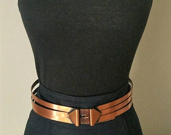 Vintage 1950s to 1960s  Renoir Corset  Copper Finish Belt Mid Century Costume Jewelry Designer Adjustable