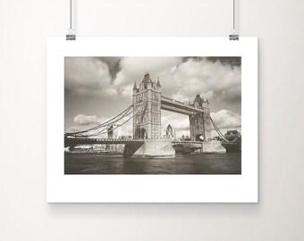 Urban photography, Tower Bridge print, London photography, monochrome. stormy sky, original photographic print, wall art, Tower Bridge
