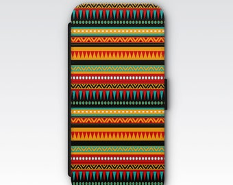 Wallet Case for iPhone 8 Plus, iPhone 8, iPhone 7 Plus, iPhone 7, iPhone 6, iPhone 6s, iPhone 5/5s -  Red, Orange & Blue Aztec Pattern