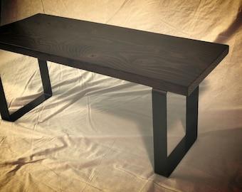Rustic & Industrial Entryway Bench (Midnight Color)