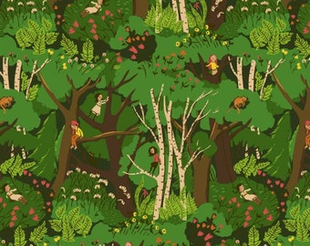 Heather Ross Tiger Lily for Windham Fabrics - Forest in Green