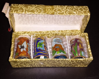 Lot of 4 Vintage Cloisonné Thimbles. Regal. Instant Collection. Original Box