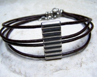 Leather Anklet, Four Cord Anklet, Brown, Ankle Bracelet, Summer Accessorie, Beach Jewelry, Women Anklet, Slave Anklet,