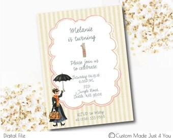 Mary Poppins Party Invitation, Baby Shower, birthday, carnival, penguins, umbrella, disney,  London Invitation,London Birthday,London Shower