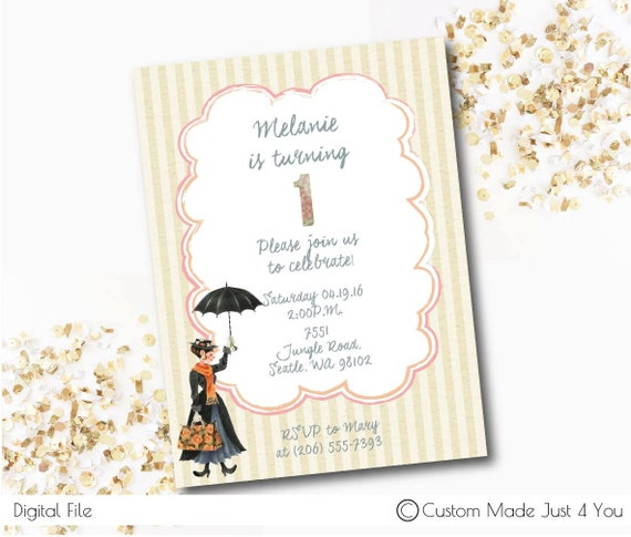 marry poppins party invitation