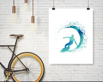 Instant Download - Surfer Surf Blue Watercolor Wave Illustration - Office Decor - Poster Wall Art Home Decor Typography