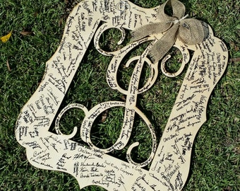 Personalized Guest Book - Wedding Guest Book - Painted Wooden Initial - Initial Door Hanger - Guest Book Alternative