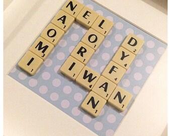 Scrabble wall art - Personalised Custom Wedding gifts Scrabble Frame - Personalised Christening gift Mothers Day gift Birthday present - TA8