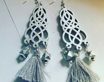 Gorgeous handmade earrings boho, on trend, glitter, sparkle