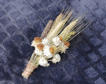 Wedding Boutonniere, Ivory Boutonniere -  Ammodium Wheat and Grains - Can be Custom Made to Order