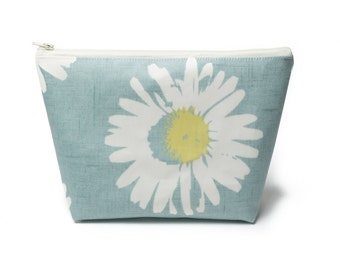 Daisy Wash Bag, Oilcloth Toiletry Bag with waterproof lining, holidays, gifts for her