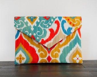ikat print envelope clutch, multicolored red blue orange yellow purse, summer handbag, de almeida designs