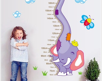 Height Chart Wall Decal - Purple Elephant - AW9217