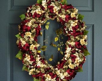 Oval Blended Hydrangea Wreath | Front Door Wreaths | Spring Wreath | Hydrangea Wreath | Summer Wreath |  Home Decor | Housewarming Gift