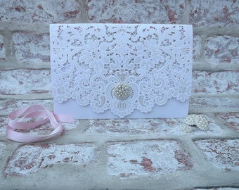 Laser cut wedding invitation - Vintage Bliss