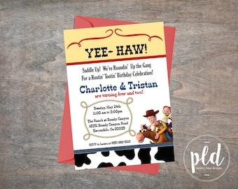 Rootin' Tootin' Cowboy/Girl Birthday Invitation-5x7, Cow Girl Birthday, Cow Bow Birthday, Toy Story Birthday Invitation, Toy Story Birthday