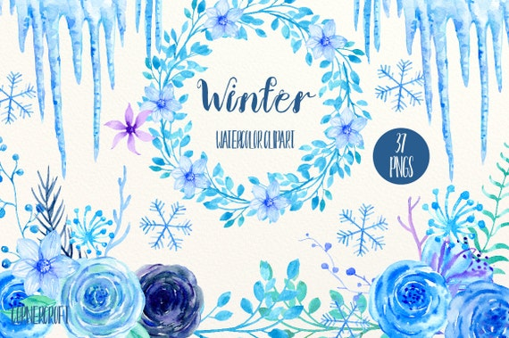 Blue Flower Clip Art Winter Watercolor Blue Amp Purple