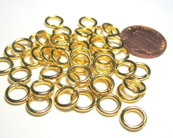 Gold Plated Open Jump Rings 8mm 15ga (No.063)