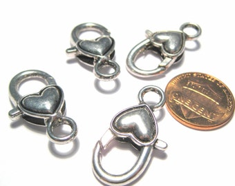 5pcs Large Antique Silver Heart Lobster Claw Clasps