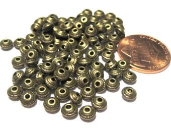 100pcs Antique Bronze Spacer Metal beads 5x3mm