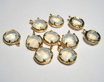 2pcs White Opal Glass Charms Pendant Gold Plated Brass Framed Faceted Flat Round( No.10G)