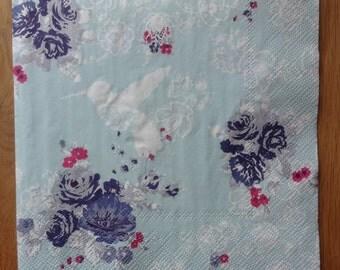 2 paper napkins for decoupage scrapbooking paper craft collage, tea party napkin, mint green paper napkin, floral paper napkin