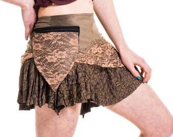 STEAMPUNK FESTIVAL SKIRT, pixie skirt, psy trance clothing, boho skirt, brown pixie skirt, pocket belt skirt, lace cotton skirt with pocket