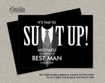 Best Man Proposal Card | DIY Printable Suit Up Tuxedo Bridal Party Request Cards | Will You Be My Best Man Wedding Attendants Invitation