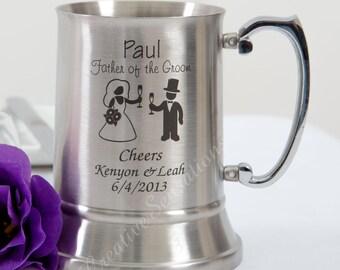 Personalised Engraved Stainless Beer Mug Tankard Wedding Birthday Gift Groomsman