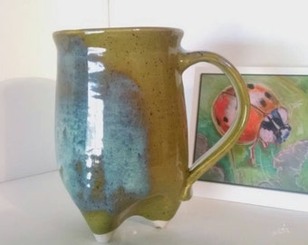 coffee mug, Tripod mug, olive green and jade 16oz