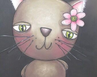chalk art lesson cat