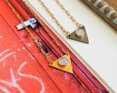 Triangle with Moonstone Accent Layering Necklace. Tribal Inspired Layering Necklace. Geometric Triangle Pendant Necklace.