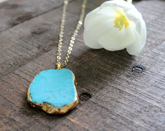 Turquoise Slab Pendant Necklace. Turquoise Statement Necklace on Gold Filled Chain. Natural Stone Necklace.