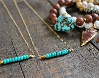Turquoise Bar Necklace. Turquoise Gemstone Necklace. Gold Everyday Layering Necklace. Minimalist Turquoise Necklace.
