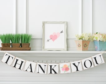 Bloom Wedding Decoration, Thank You Banner, Wedding Banner, Wedding Thank You Garland, Thank you Sign, Bridal Shower Thank You Sign, B101