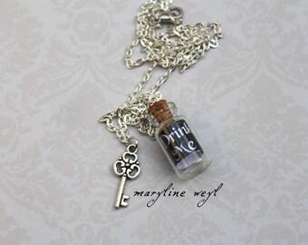 Necklace vial drink me black