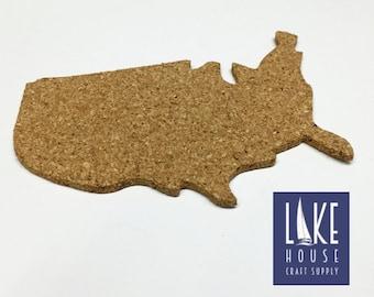 "Cork USA Map Embellishment 3"" x 4"""