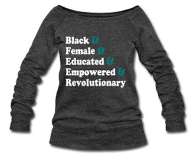 Traits of the Modern Black Woman Wide Neck Off Shoulder Slouchy Women's Sweatshirt - Dark Gray