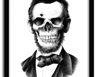 Affiche lincoln skull par Bioworkz