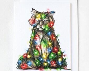 Cat Christmas Card w/Envelope {Single Card}