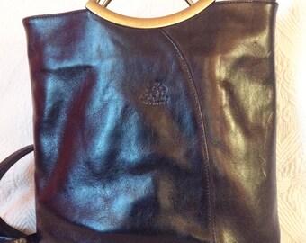 Vintage black leather, hand, shoulder or back, Allengo porter bag.