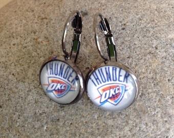 Oklahoma Thunder Earrings.  OKC Basketball.  Oklahoma NBA. Thunder Up. 12mm Oklahoma Earrings.
